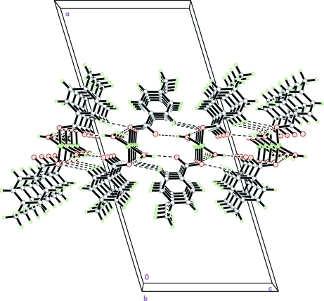 A packing view of the title compound. The intermolecluar hydrogen bonds are shown as dashed lines.