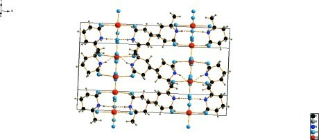 A portion of the packing diagram with hydrogen bonds shown as dashed lines.