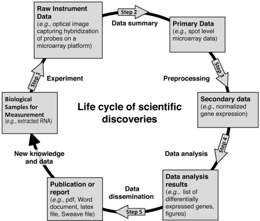 Life cycle of scientific discoveries. The overall cycle is broken down into five different steps. After completion of all steps according to the reproducible guidelines (Table 1), the results would rapidly lead to confirmed (or discarded) discoveries. The confirmed discoveries would then be translated into new knowledge and data supporting novel studies.