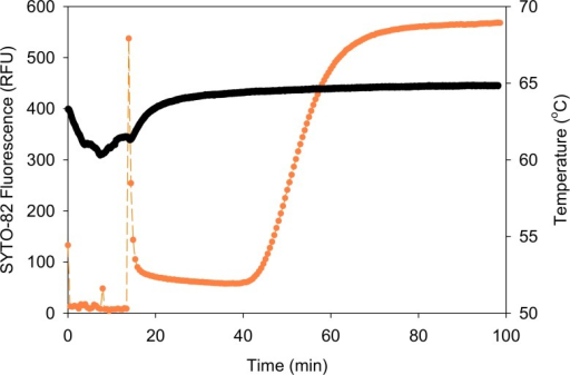 Example raw data from integrated extraction and amplification assay.Fluorescence (orange) and temperature (black) were recorded during extraction of TB DNA from a high concentration PATH surrogate sputum sample and LAMP amplification. During the extraction phase of the assay, the temperature was transiently reduced by approximately 5°C as the room temperature tubing passed through the block. The peak in fluorescence at approximately 15 minutes indicated that the reaction chamber of the tubing was positioned correctly in the heat block as the amplification phase of the assay began.