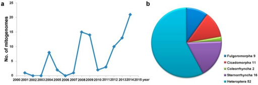 Accumulation of mitogenome data from Hemiptera. (a) The number of species sequenced in each year is represented by the blue line; (b) The number of species sequenced in each suborder is represented by the different pieces of the pie graph.
