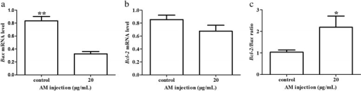 Effect of AM treatment on the expression of Bax and Bcl-2 in Leydig cells. qRT-PCR was performed to determine the abundances of Bax (a) and Bcl-2 (b) mRNA in Leydig cells treated with 20 μg/mL of AM, and to further determine the effect of AM treatment on expression level of Bax and Bcl-2, we calculated the ratio of Bcl-2 to Bax (c). Expression of Bax and Bcl-2 mRNA was normalized relative to the abundance of GAPDH mRNA. Results are depicted as mean +/- SE (n = 3). * P < 0.05, ** P < 0.01