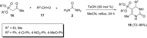 p-Toluenesulfonic acid-promoted Biginelli reaction of β-ketophosphonates, aryl aldehydes and urea.
