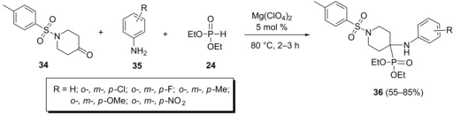 The Mg(ClO4)2-catalyzed Kabachnik–Fields reaction of 1-tosylpiperidine-4-one.