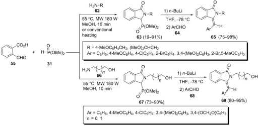 The synthesis of 3-arylmethyleneisoindolin-1-ones through a Horner–Wadsworth–Emmons reaction of Kabachnik–Fields reaction products.