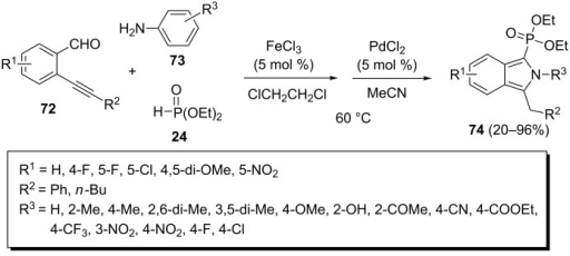 FeCl3 and PdCl2 co-catalyzed three-component reaction of 2-alkynylbenzaldehydes, anilines, and diethyl phosphonate.