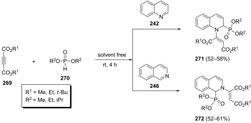 Three-component stereoselective synthesis of 1,2-dihydroquinolin-2-ylphosphonates and 1,2-dihydroisoquinolin-1-ylphosphonates.
