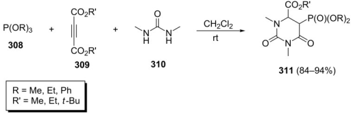 One-pot three-component synthesis of phosphorylated 2,6-dioxohexahydropyrimidines.