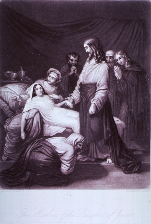 <p>Jesus is standing before a young woman lying on a bed, her left hand hangs limp in his right hand; a man is on his knees appealing to Jesus to cure his daughter; two men and a woman are standing behind the bed in prayer; a woman is sitting on the bed.</p>