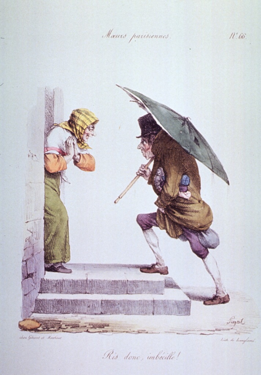 <p>Caricature:  A woman is standing in a doorway laughing at a man coming up the steps carrying an umbrella.</p>