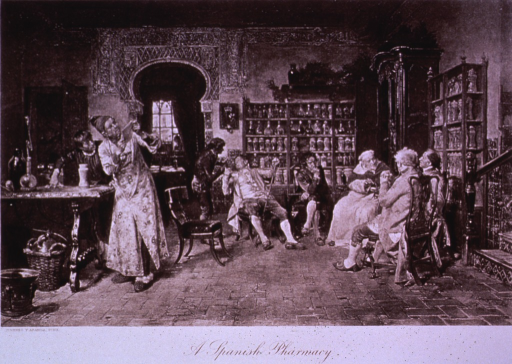 <p>Interior of an early 18th c. pharmacy.</p>