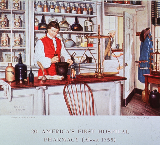 <p>Interior view of the pharmacy at the Pennsylvania Hospital in Philadelphia, showing John Morgan behind the counter and through an open door a view into a ward.</p>