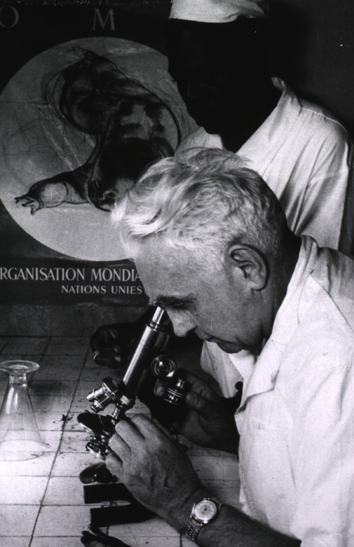 <p>Malariologist seated at a microscope; a man is standing next to him holding a slide; in the background, a poster is visible.</p>