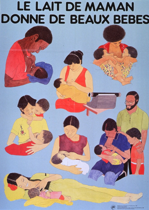 <p>Light blue poster with black lettering.  Title at top of poster.  Poster features seven illustrations of women breastfeeding their babies.  The women sit and recline, sometimes they feed with other family members present.  One women feeds while seated near a typewriter, presumably at work.  Publisher and sponsor information in lower right corner.</p>