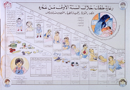 <p>Multicolor poster with black lettering.  All text in Arabic script.  Significant amount of text throughout poster.  Visual images are color illustrations depicting developmental milestones for infants and toddlers, including rolling over, sitting up, drinking from a cup, crawling, standing, and walking.  Illustrations of appropriate foods for each age group appear below milestones.  Several additional illustrations of children around poster.</p>