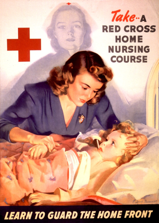 <p>Photographic representation of a woman seated at a child's bedside. The child has a thermometer in her mouth, and superimposed on the background is the faded image of a Red Cross nurse.</p>