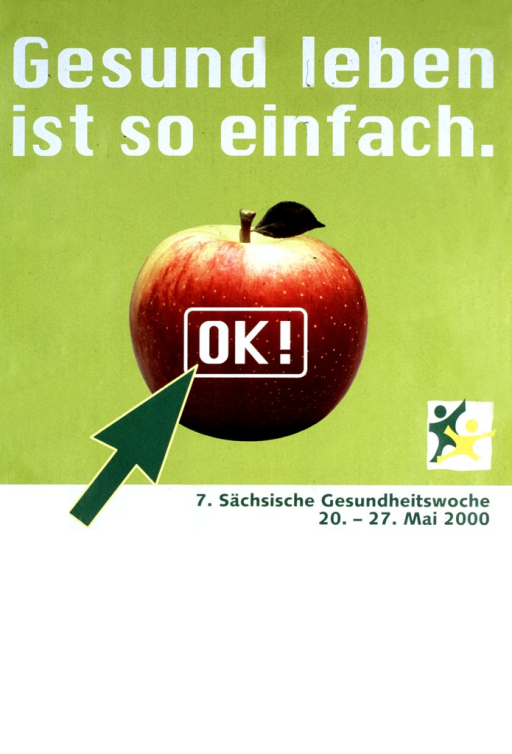 <p>Green and white poster with white and green lettering, illustrated with a photograph of a McIntosh apple.  A green computer arrow points to (as if to click on) the word &quot;OK!&quot; which is set on the middle of the apple.  On the right is a logo:  two human figures, with outstretched arms, set on a background of a gray box.</p>