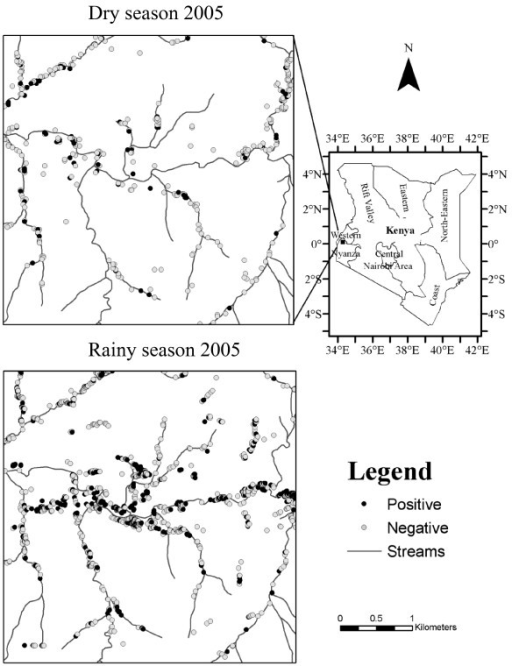 Location of the study area: (upper left) the map of dry season anopheline-positive habitats in 2005 (the black dots are positive habitats and the white dots with black outlines are negative habitats i.e. stagnant aquatic habitats that contain no Anopheles larvae); (lower left) the map of rainy season anopheline-positive habitats in 2005; (right) the map showing the location of the study areas and the regions of Kenya. The scale bar is associated with the two maps on the left sides.