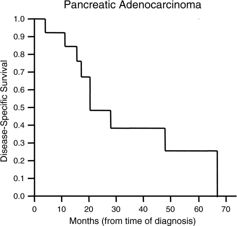 Disease-specific survival of 13 patients with PDAC. Median survival was 20 months (range 4–67 months).