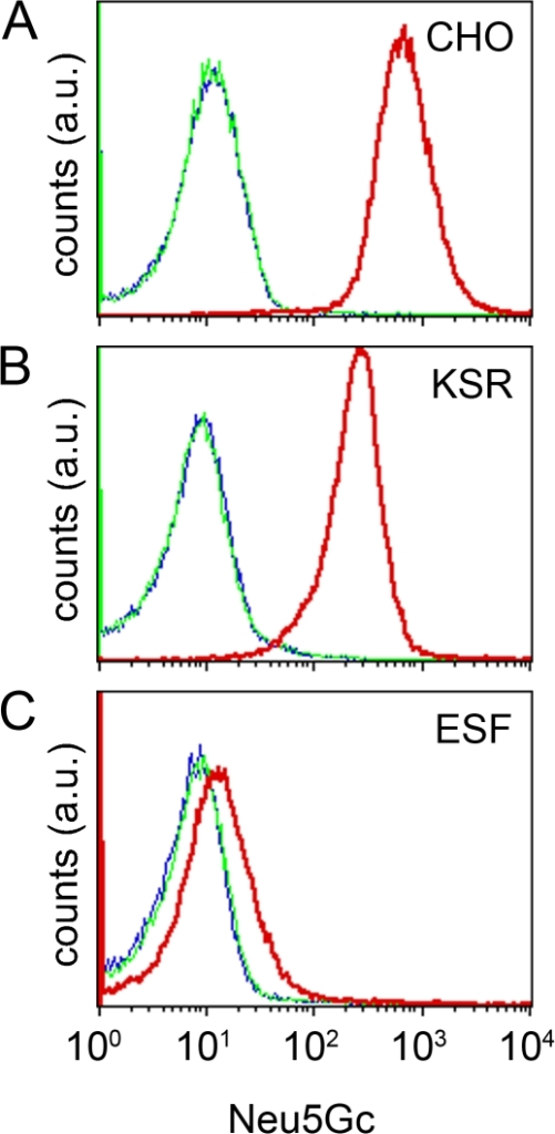 Decreased expression of xenoantigen Neu5Gc in hiPSCs adapted under defined culture conditions.Flow cytometry analysis of Neu5Gc expression. CHO cells were grown in FCS-containing medium (A) and hiPSCs were grown under KSR-based conditions (B) or hESF9a-based conditions (C). The cells were exposed to anti-Neu5Gc antibody (red), control antibody (green), or blocking buffer (blue), and then stained with a secondary antibody for analysis by flow cytometry.