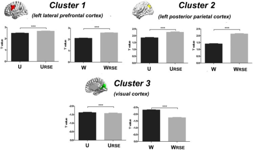 Statistical T-values comparison between the traditional degree metrics and the modified degree metrics is shown. Cluster 1 is the left lateral prefrontal cortex (true-positive), cluster 2 is the left posterior parietal cortex (true-positive), and cluster 3 is the visual cortex (false-positive). Bars represent mean ± SEM, ***p < 0.001.