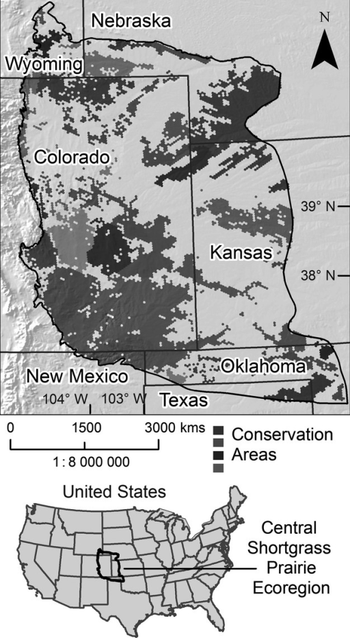 A portfolio of conservation areas resulting from an ecoregional assessment in the Central Shortgrass Prairie Ecoregion of the United States (Neely et al. 2006). An early generation version of Marxan, a decision support system known as SPOT or Spatial Portfolio Optimization Tool, was used in conjunction with GIS, to select the conservation areas in this portfolio based on the occurrence of various conservation targets (elements of biodiversity) in the ecoregion and the quantitative goals set for these targets.