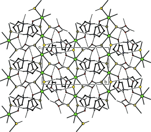 The crystal packing of (I) viewed along the a axis. Dashed lines denote inter­molecular hydrogen bonds. C-bound H atoms have been omitted for clarity.