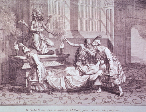 <p>A man is being transported on a stretcher, he is stopped before a statue of a figure with four arms and a face on each side of its head; a man is exhorting him to appeal to the deity represented by the statue.</p>