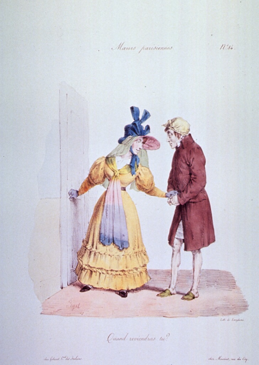 <p>Caricature:  A woman, dressed to go out, is standing at the door; a man wearing a coat (over a nightshirt?) and slippers, sees her to the door; they hold hands.</p>