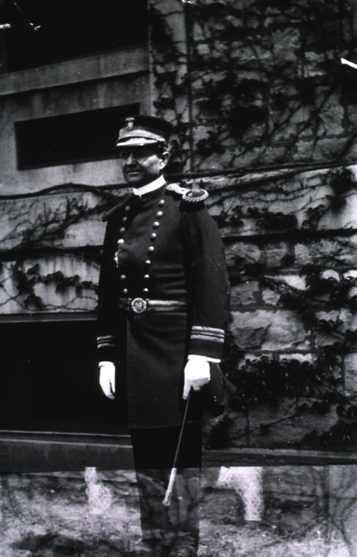 <p>Full length, standing, wearing USPHS dress uniform, with sword and cap.</p>