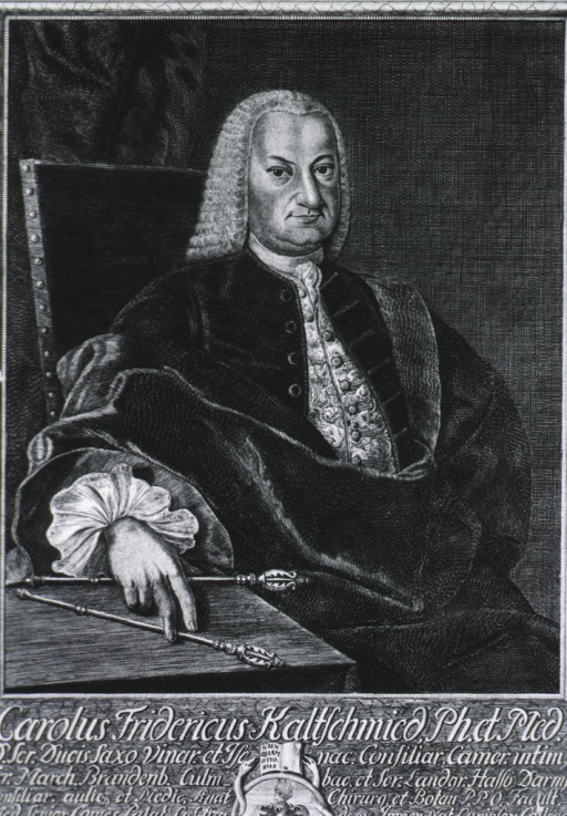 <p>Half-length, seated, right pose, full face; hand on table, holding tongs; coat-of-arms.</p>