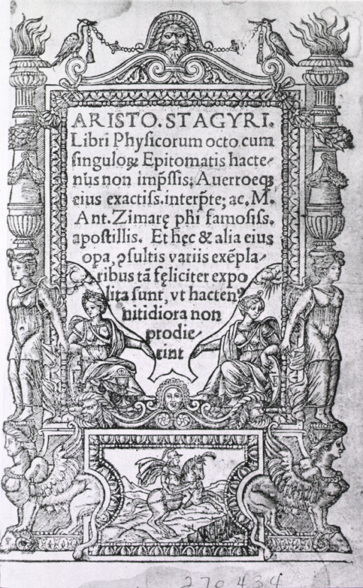<p>Text of title page and two women seated within a frame of pillars formed by griffins and women standing; at the bottom is a man on a horse; at top the head of a supreme being with birds at right and left.</p>