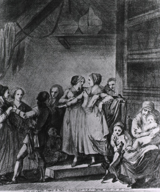 <p>A young woman and a seamstress stand on a platform; on the right, a woman holds a child on her lap and a young boy plays with a dog; on the left, a young man holds the hand of a young woman, other people stand nearby.</p>