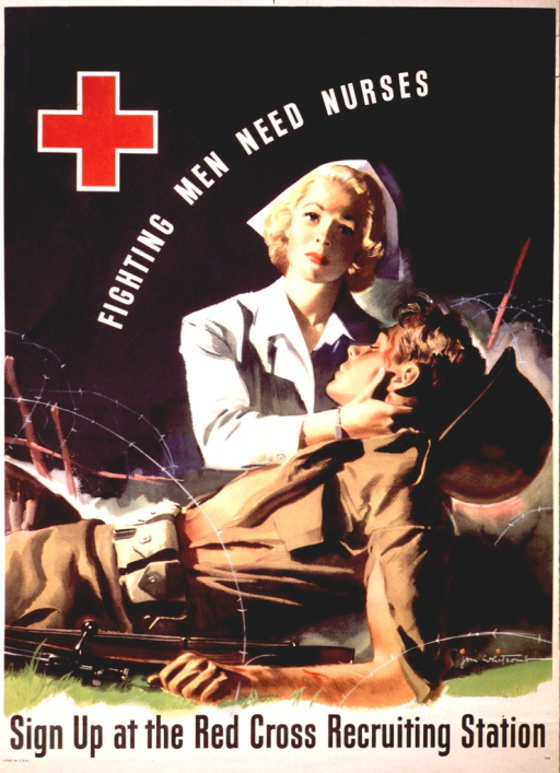 <p>Photographic representation of a female nurse at the side of a wounded soldier who is lying on the ground.</p>
