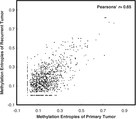 The correlation of methylation entropies between the primary and relapsed ependymoma tissues from one individual. Each dot represents a genomic locus with the methylation entropies calculated for primary (PA1*) and relapsed (RL1*) tumors.
