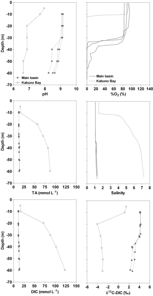 Vertical profiles in March 2007 of pH, oxygen saturation level (%O2, %), total alkalinity (TA, mmol L−1), salinity, dissolved inorganic carbon (DIC, mmol L−1), δ13C signature of DIC (δ13C-DIC, ‰) in Kabuno Bay and in the three northernmost stations in the main basin of Lake Kivu.