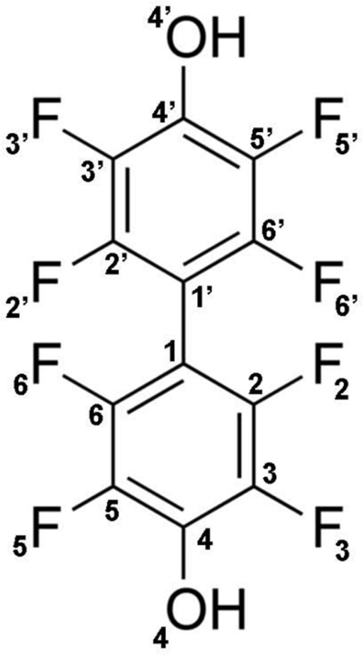 Molecular structure of compound JF0064, 2,2',3,3',5,5',6,6'-octafluoro-4,4'-biphenyldiol.