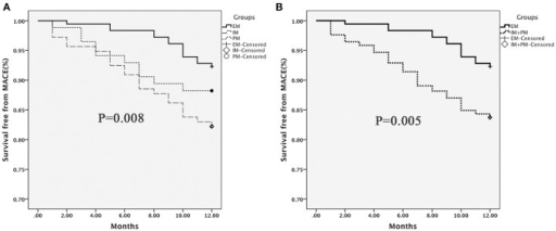 MACE-free survival in patients stratified by CYP2C19 metabolizer status. (A) EM vs. IM vs. PM; (B) EM vs. IM+PM. Differences were compared using the log-rank test.