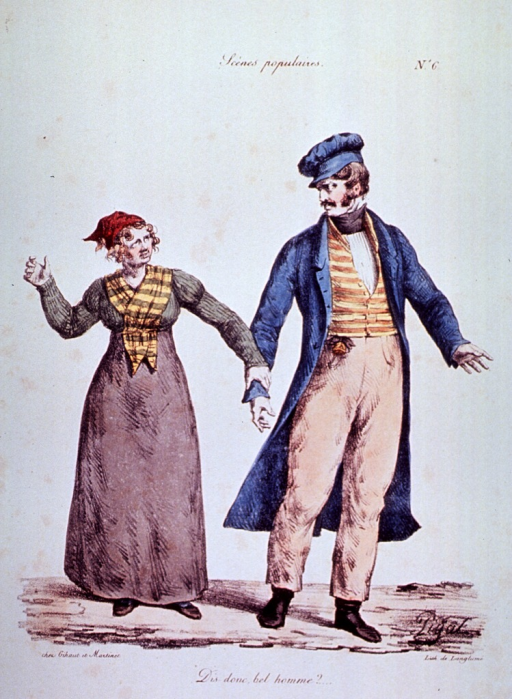 <p>Caricature:  A young woman accosts a handsome young man.</p>