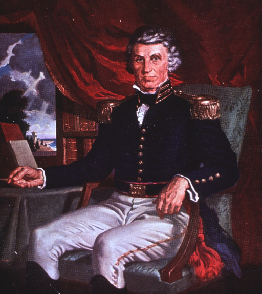 <p>Three-quarter length, seated in chair, full face, wearing dress uniform.</p>