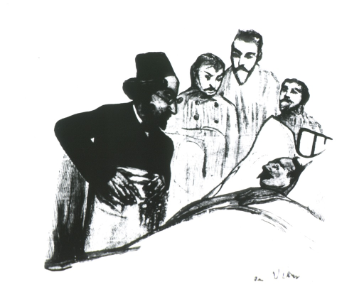 <p>Caricature from La Tribuna Medica, Chile.  Shown at patient's bedside.</p>