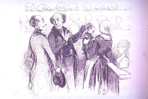<p>A phrenologist examines the head of a young child in the company of a man and woman. Skulls and busts are on shelves in the background.</p>