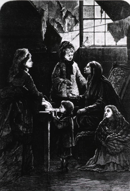 <p>Visiting the sick.  Socialites in poor home, visiting mother and two girls.</p>