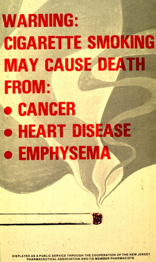 <p>Yellow poster with red lettering.  Title in upper portion of poster.  Visual image on poster is a cigarette with a thick plume of gray and white smoke ascending from the lit end.  Title superimposed on smoke.</p>