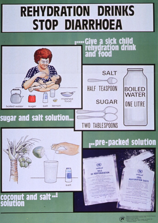 <p>Green poster with black and white lettering.  Title at top of poster.  Note below title.  Poster features three illustrations and a color photo reproduction.  In upper left, a mother holds and feeds her sick child.  The ingredients for a rehydration drink are laid out in front of her.  In upper right, a bottle of water and three spoons depict the measurments for a rehydration drink.  In lower left, a different solution is represented by a coconut tree, an open coconut, and a salt shaker.  The photo is in the lower right, showing pre-packaged rehydration salts.  Publisher and sponsor information in lower right corner.</p>