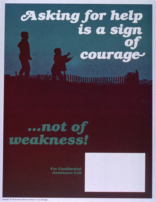 <p>Green and brown poster with white and green lettering.  Initial title phrase at top of poster.  Visual image is a silhouette of two people walking behind a fence.  One of the people has its arms outstretched.  Remaining title phrase below image.  Space near bottom of poster for contact information, though none given.  Publisher information at bottom of poster.</p>
