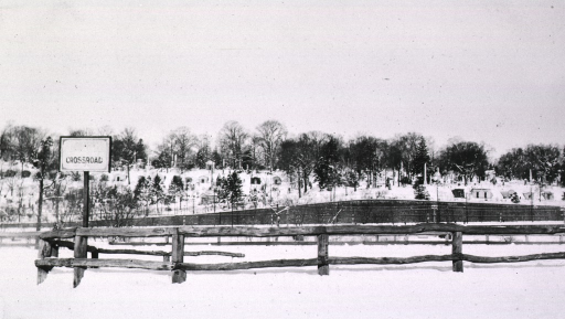 <p>Winter scene showing Woodlawn Cemetery.</p>
