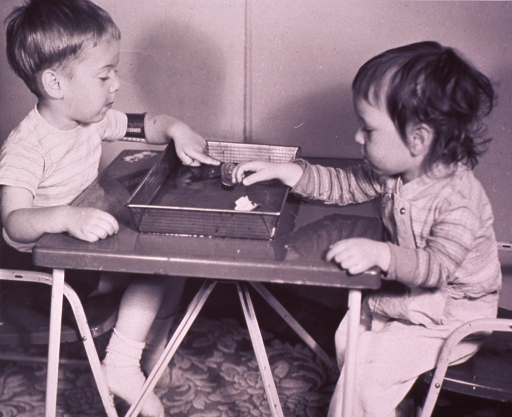 <p>Two children are playing with toy boats in a baking pan filled with water.</p>