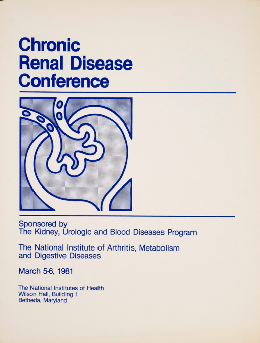<p>White poster with blue print and a drawing representing the kidney. Poster is primarily text giving the title and details of the conference.</p>