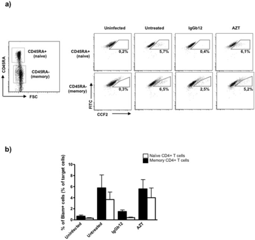 Similar levels of viral fusion into naïve and memory CD4+ T cells.HEK293-T cells cotransfected with pNL4-3 and BlaM-Vpr plasmids were cocultured with primary resting CD4+ T cells in the presence or the absence of the anti-HIV-1 gp120 mAb IgGb12 (10 µg/ml) and the RT inhibitor AZT (1 µg/ml). Viral fusion was assessed by flow cytometry by measuring the percentage of CCF2-cleaved naïve (CD45RA+) and memory (CD45RA−) target CD4 T cells. (a) Dot plots of CCF2-loaded cells (FITC-labelled) versus CCF2-cleaved cells (Pacific blue-labelled) of a representative experiment are shown. (b) Percentage of CCF2-cleaved target cells normalized to memory CD4+ T cells in untreated condition. Mean and SD of two independent experiments is shown.